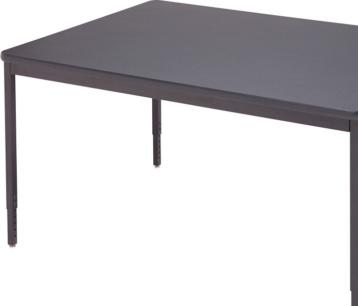 This Heavy Duty Computer Table Line Features A Full Wraparound Apron,  16 Gauge Square Adjustable Height Legs, Built In Wire Management Tray And  Grommets.
