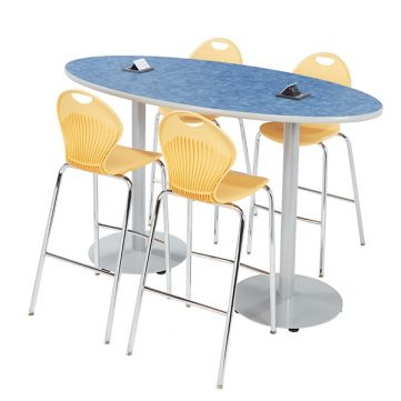 Boost Oval Table with optional power port and Boost Stool