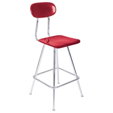 Fixed Lab Stool with Back Support