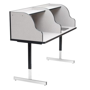 Side View of Double Study Carrel with top shelf