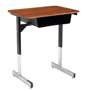 T Leg Desk with Steel Bookbox